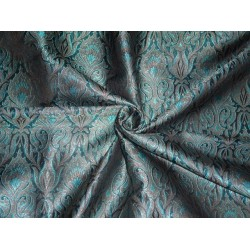 viscose SILK BROCADE FABRIC BLACK,Blue & Metallic GOLD 44""