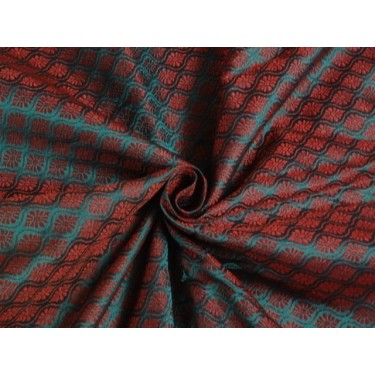 Spun SILK BROCADE FABRIC Green & Red 44""