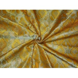 viscose Silk Brocade Vestment Fabric Yellow & Blue color 44""