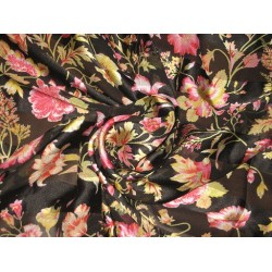 Floral Printed Chiffon with Satin stripes Fabric