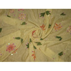 Lime Yellow soft silk crepe fabric with embroidery and sequin