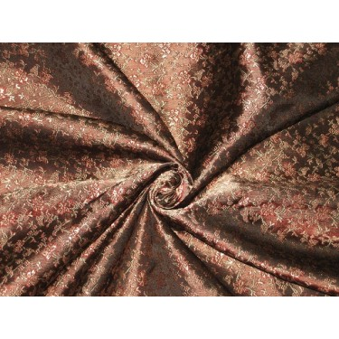 SILK BROCADE FABRIC Bark Brown,Red & Gold colour 44""