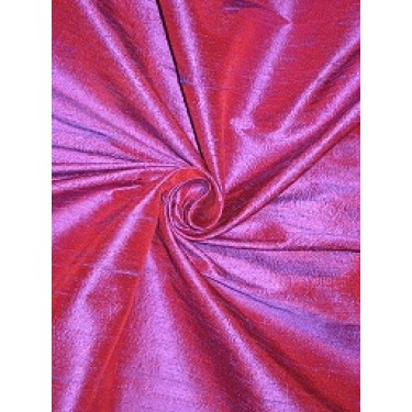 100% Pure SILK Dupioni FABRIC Purple x Dark Pinkish Red color