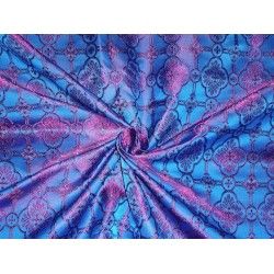 viscose Silk Brocade Vestment Fabric Blue & Purple color 44""