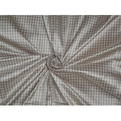 "SILK DUPIONI FABRIC 54""BROWN,CREAM X GREY SMALL PLAIDS Cut length 3.25"