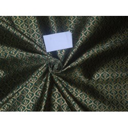 """Brocade Fabric Emerald Green x Gold Color 48"""" wide sold by the yard Bro525[4]"""