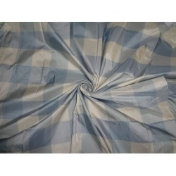 "PURE SILK TAFFETA FABRIC BLUE X IVORY COLOR PLAIDS 54"" wide sold by the yard"