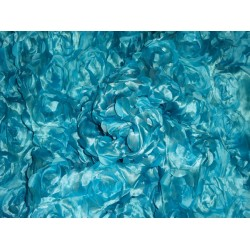 "POLYESTER SATIN FLOWER DESIGN FABRIC 44"" WINTER SEA BLUE COLOR"