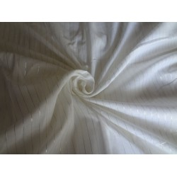 WHITE COTTON FABRIC WITH SILVER AND GOLD LURE X WEAVE