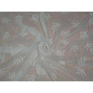 """SILK CHIFFON EMBROIDERY WITH WHITE BEADS 36"""""""