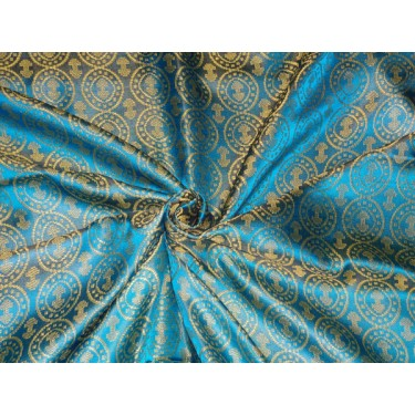 """100% PURE SILK BROCADE VESTMENT BLUE X LIME GREEN COLOR 44""""INCH BRO478[4] by the yard"""