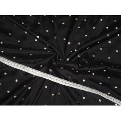 Silk Dupioni Fabric Black with Gold embroidered dots 80 Grams