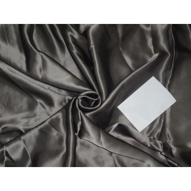 """100% PURE SILK SATIN FABRIC 44"""" TAUPE COLOR 80 GRAMS"""