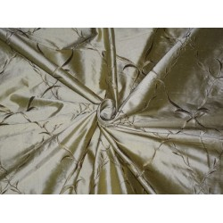 54 inch wide silk dupioni fabric light olive green with  dark olive green embroidery