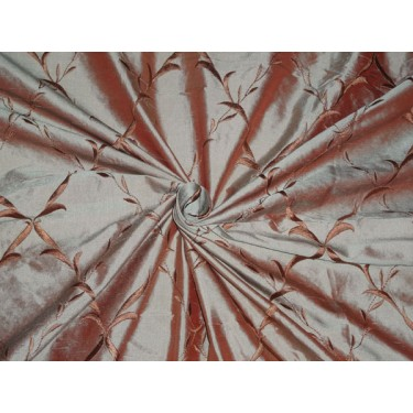 """54""""WIDE SILK DUPIONI EMBROIDERED FABRIC IRIDESCENT RED X GREEN"""
