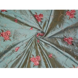 """54""""WIDE SILK DUPIONI FABRIC IRIDESCENT DUSTY BLUE X MUSTARD WITH  VELVET FLORAL  EMBROIDERY"""