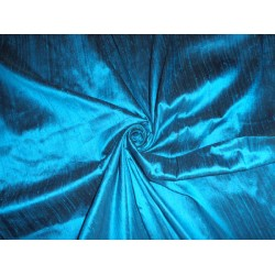 "100% pure silk dupioni fabric turquoise blue x black 44"" with slubs"