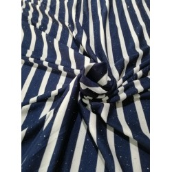 Polyester lycra knitted striped fabric with shimmer navy and white