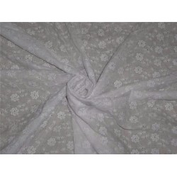 """white color cotton organdy 44"""" ~tiny floral embroidery"""