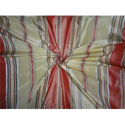 """100% silk taffeta ribbed horizontal stripe salmon olive and gold TAFS142-54"""" wide sold by the yard"""