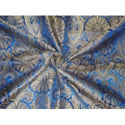 "Silk Brocade Fabric electric blue and mettalic gold 44""BRO544[1]"