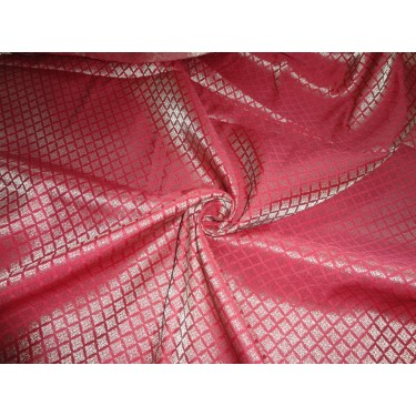 """Brocade Fabric Blood Red x mettalic Gold Color 44""""BRO552[4]"""