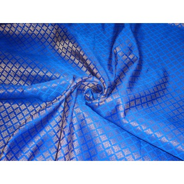"""Brocade Fabric royal blue x mettalic Gold Color 44""""BRO551[2] by the yard"""