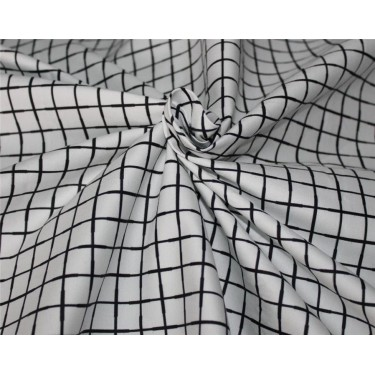 """100% cotton lycra twill 60mm 58"""" wide black and white plaids"""