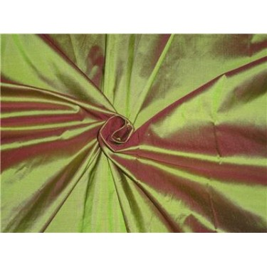 """100% Silk Taffeta Fabric Pistachio Green x Pink Color 80 Grams 44"""" wide sold by the yard"""