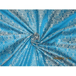 "100% Pure Silk Brocade fabric Aqua blue x silver Color 44""Bro286[1]"