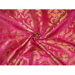 Brocade fabric hot pink x metallic gold 44 inches by the yard BRO577[2] by the yard