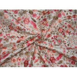 """Silk Brocade EMBROIDERED multi floral  44""""  BRO764[2] by the yard"""