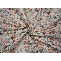 """Silk Brocade EMBROIDERED multi floral  44""""  BRO764[1] by the yard"""