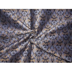 """Silk Brocade blue lilac/black and metallic gold   44"""" BRO765A[1] by the yard"""