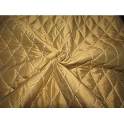 """Dupioni silk 54"""" golden acorn  diamond pintuck quilted and padded DUP P 34[3] by the yard"""