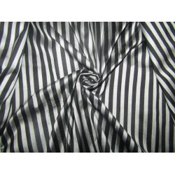 """100% silk dupion  fabric STRIPES  silver and black   DUPNEWS2[6] 54"""" wide sold by the yard"""