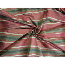 """100%silk dupion fabric multi color plaids DUPANEWC1[2] 54"""" wide sold by the yard"""
