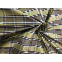 """100% silk dupion  fabric PLAIDS  yellow brown  DUPNEWC1[4] 54"""" wide sold by the yard"""