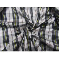 """100% silk dupion  fabric PLAIDS black white   DUPNEWC2[3] 54"""" wide sold by the yard"""
