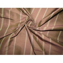 """100% silk dupion  fabric STRIPES  brown and yellow   DUPNEWS2[5] 54"""" wide sold by the yard"""