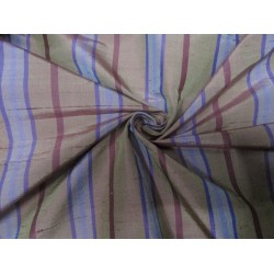 """100% silk dupion  fabric stripe brown  DUPNEWS3[4] 54"""" wide sold by the yard"""