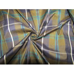 """100% silk dupion  fabric PLAIDS navy and khakhi   DUPNEWC3[6] 54"""" wide sold by the yard"""
