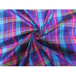 """100% silk dupion  fabric PLAIDS blues  and pinks   DUPNEWC3[4] 54"""" wide sold by the yard"""