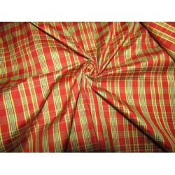 """100% silk dupion  fabric PLAIDS  red and yellow   DUPNEWC3[3] 54"""" wide sold by the yard"""