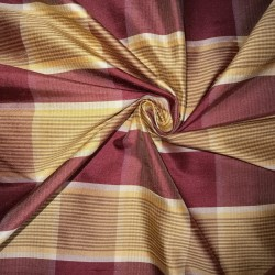 """100% silk dupion  fabric red gold  plaids  DUPNEWC8[4] 54"""" wide sold by the yard"""