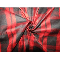 """100% silk dupion  fabric  red and black  PLAIDS  DUPNEWC4[3] 54"""" wide sold by the yard"""