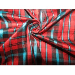 """100% silk dupion  fabric  red black and blue  PLAIDS  DUPNEWC4[5] 54"""" wide sold by the yard"""