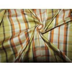 """100% silk dupion  fabric  brown green cream PLAIDS  DUPNEWC5[6]  54"""" wide sold by the yard"""