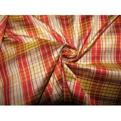 """100% silk dupion  fabric  red gold  PLAIDS  DUPNEWC5[3] 54"""" wide sold by the yard"""
