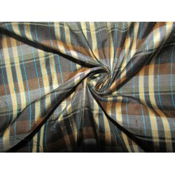"""100% silk dupion  fabric navy brown  blue   PLAIDS  DUPNEWC5[5] 54"""" wide sold by the yard"""